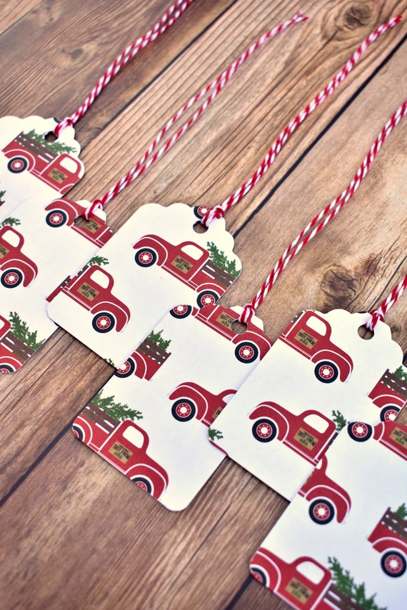 Christmas Gift Tags Handmade.Handmade Red Truck Christmas Gift Tags With String Rustic Christmas Gift Tags Christmas Tags Handmade Rustic Christmas Gift Wrapping