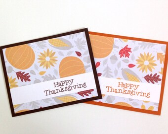 Happy Thanksgiving Card Set - Harvest Fall Card - Autumn Pumpkin Card - Fall Greeting Card Set - Giving Thanks Card - Thankful for You Card