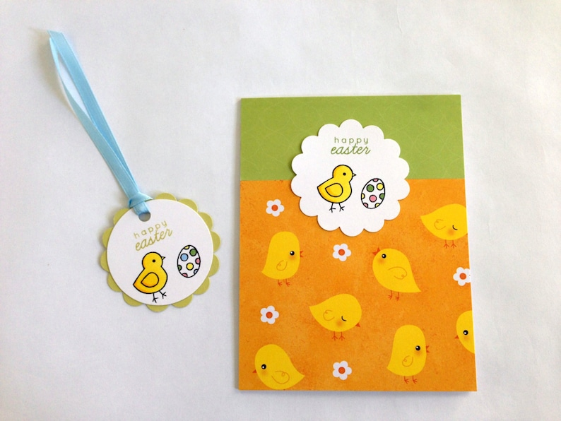 Easter Tags Easter Basket Tags Easter Gift Tags Stamped Easter Tags Happy Easter Tags Easter Egg Hang Tag Easter Chick Favor Tag