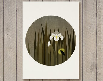 White Iris Flower and dragonfly in the dark - Night flower - Flower Wall Art - Instant download - Printable