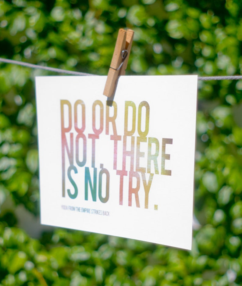 Do Or Do Not There Is No Try A4 Horizontal Print Quote Etsy
