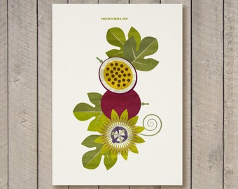 Passion Fruit and Flower - Immediate download poster -