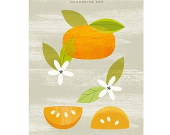 Tangerine fan poster Mandarina fan - Original ILLUSTRATED Digital Image Download