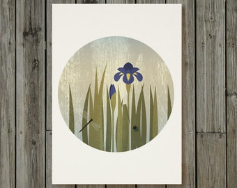 Blue Iris, dragonfly and beetle  - Flower Wall Art - Instant download - Printable