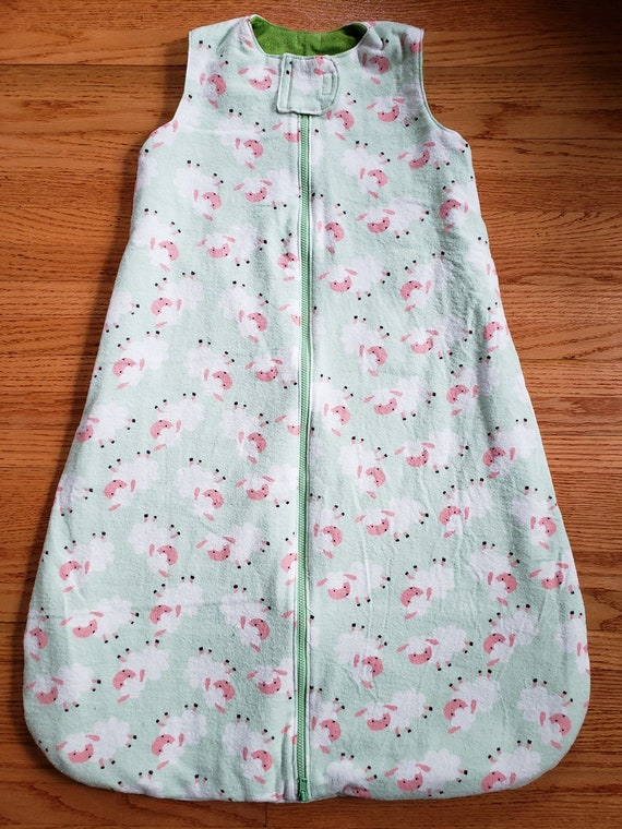 huge selection of 40fa5 5690d 12 Month Sleep Sack Infant Baby Gender Neutral Boy Girl Flannel Light Green  with Sheep