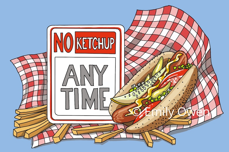 Chicago Style Hot Dog Greeting Card Art Print  Souvenirs from image 0