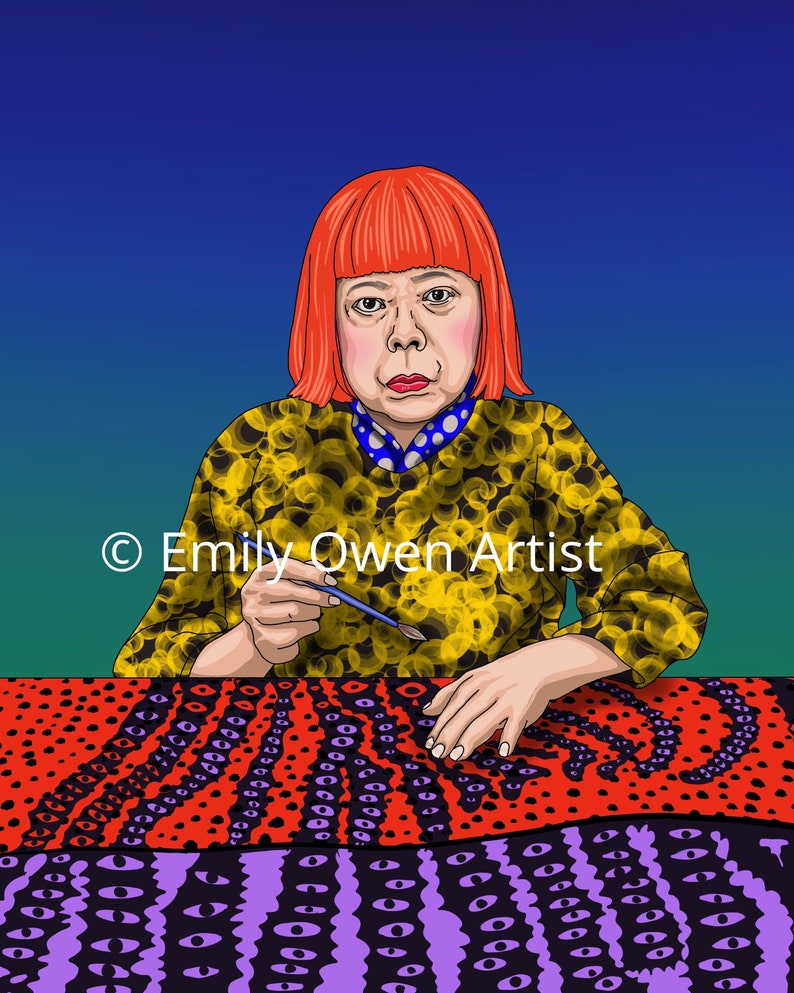Yayoi Greeting Card Digital Portrait Print or Ornament Sheros image 0
