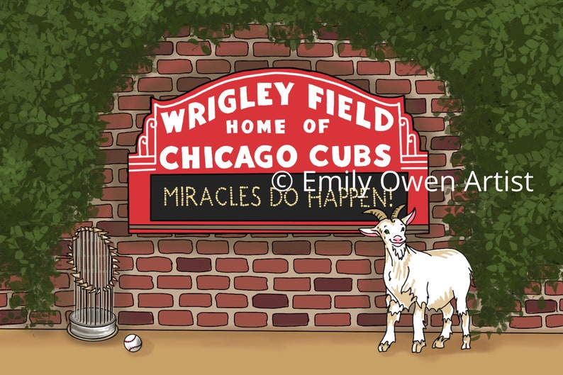 Chicago Cubs Greeting Card Art Print  Souvenirs from Chicago image 0