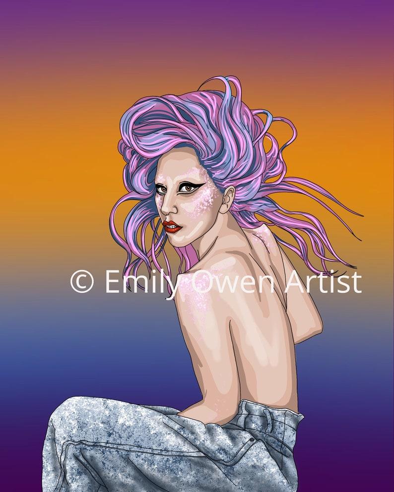 Lady Gaga Greeting Card Digital Portrait Print Sheros Series image 0
