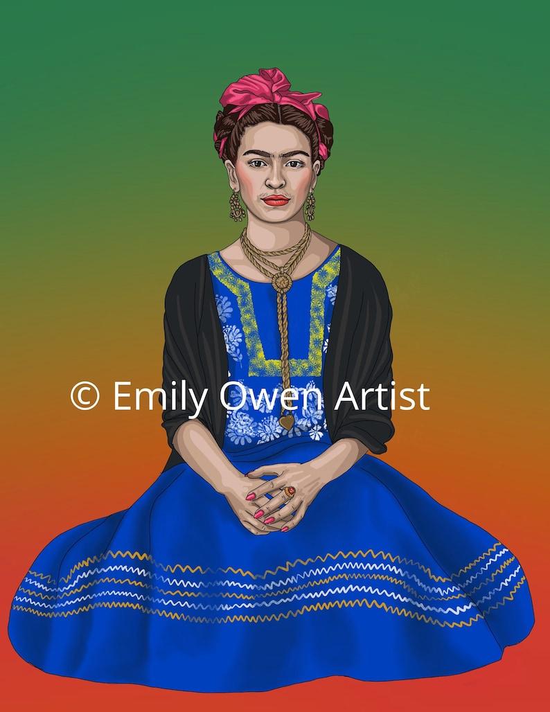 Frida Kahlo Greeting Card Digital Portrait Printer Ornament image 0