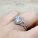 White Sapphire Engagement Ring,Infinity Diamond Band,Cushion Halo,Notus,2ct Ring,White Gold,Rose Gold,Sapphire Ring,White Sapphire Ring