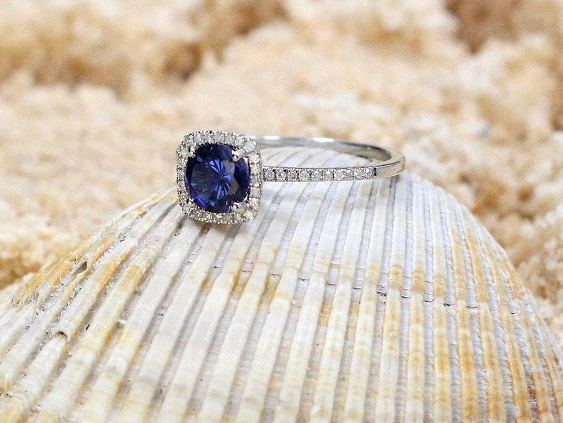 Blue Sapphire Engagement Ring Cushion Halo Cuscino Petite image 0