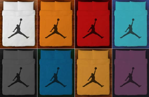 Housse de couette literie basket air jordan jumpman reine roi Twin taille pleine Double blanc burnt orange rouge, ensemble de draps de coton vendu ...