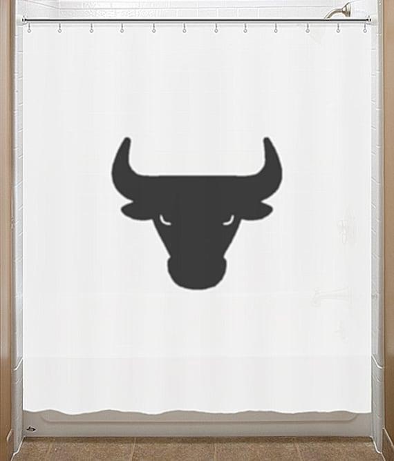 Black Bull Shower Curtain Chicago Bulls Bathroom Decor Bath