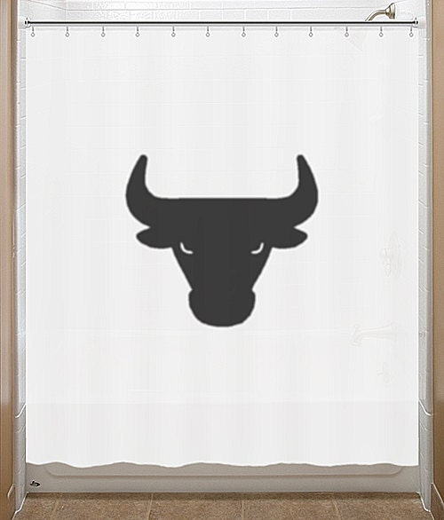 Black Bull Shower Curtain Chicago Bulls Bathroom Decor Bath