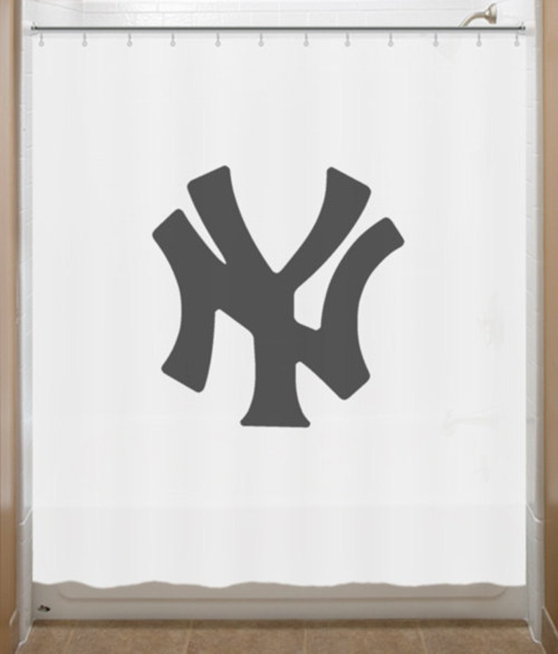 Baseball Shower Curtain New York Yankees Bathroom Decor Bath