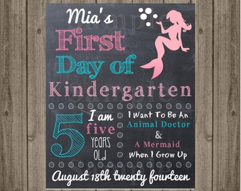 First Day of School Sign - Last Day of School Sign -  Mermaid - Printable 8x10 First Day of School Photo Prop