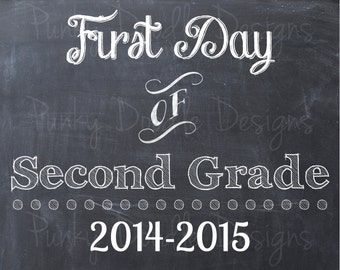 First Day of Second Grade School Sign - Last Day of Second Grade School Sign - Printable 8x10 Photo Prop - Instant Download