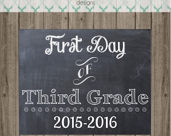 First Day of Third Grade School Sign - Last Day of Third Grade School Sign - Printable 8x10 Photo Prop - Instant Download
