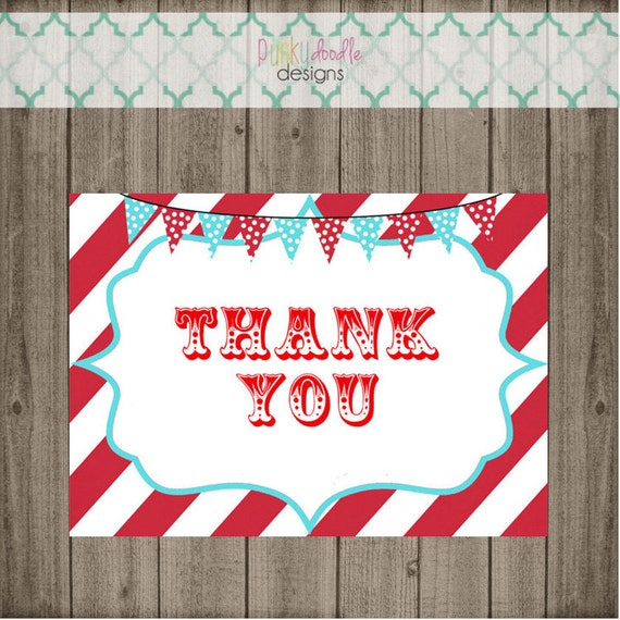 Carnival Thank You Cards Circus Thank You Cards Birthday Etsy