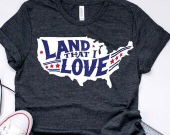 America Land That I Love SVG God Bless the USA States Fourth of July America StateTee Shirt Print Transfer Iron On Printable  tshirt vinyl