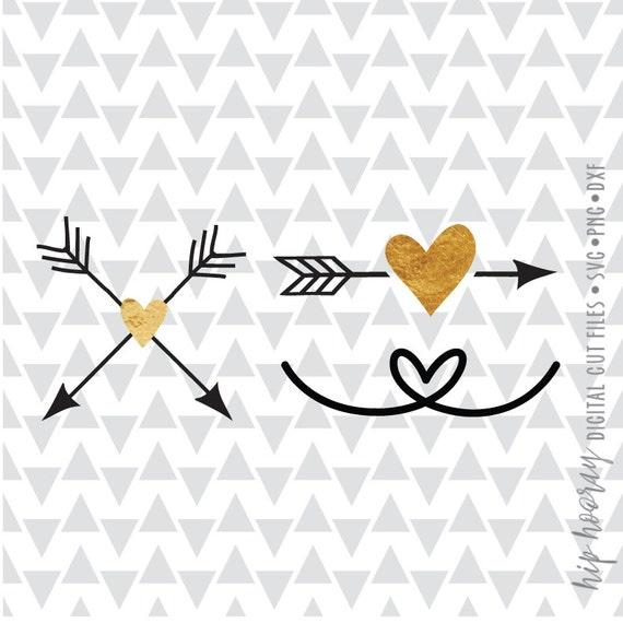 Heart Svg Arrows Svg Love Svg Foil Boho Dxf Png Heart Wedding Etsy
