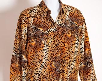 010c5656 Vintage 80s 90s Women's Leopard Print Top Blouse - Christie & Jill
