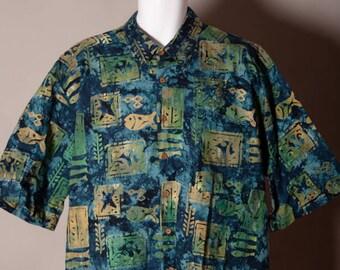 Sweet Vintage 90s Men's Short Sleeve Button Beach Theme Shirt - Basic Options