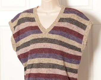 Vintage 80s Sleeveless Sweater horizontal stripe - Segue - L