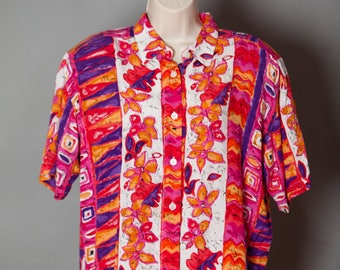 Vintage 80s 90s Womens Colorful Blouse