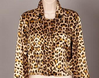 Vintage 80s 90s Womans Leopard Print Top - E. K. Designs
