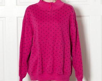 b84445d0b3 Vintage 80s 90s Womens Turtleneck Sweatshirt - TREND BASICS - pink - L