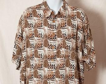 6825816fa Vintage 80s 90s Men's Short Sleeve Button Pineapple Pattern Hawaiian Shirt  - M.E. Sport