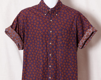 Vintage 1980s 90s Men's Button Down Short Sleeve Shirt - Merona - L