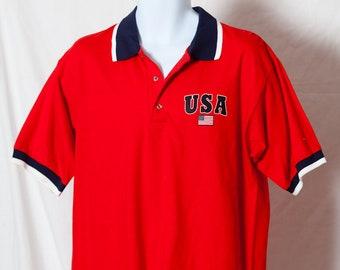 0bc0c62e9d Vintage 90s USA American Flag Polo Shirt - L