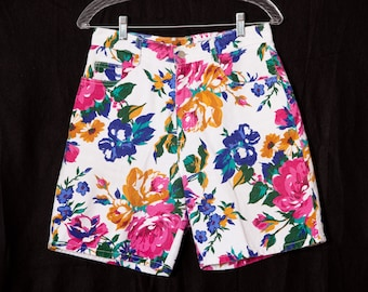Vintage 80s 90s Colorful Floral Women's Shorts - AFFINITY