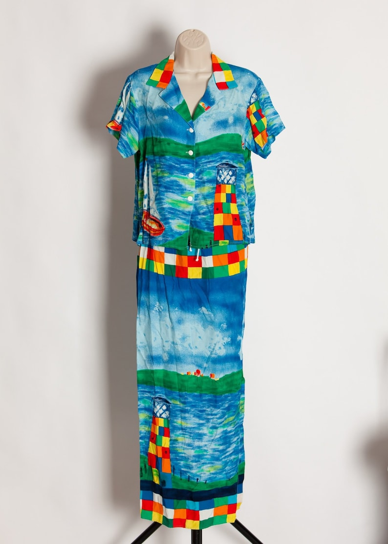 Vintage 80s 90s Ocean Lighthouse Themed Two Piece Blouse and Skirt BREEZE By Dorothy Shoelen M