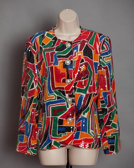 Women's 80s 90s Colorful Sequins Blazer Top