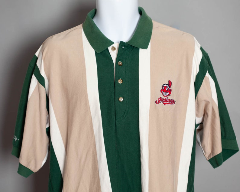 Vintage 90s Cleveland Indians Chief Wahoo green khaki polo shirt - ANTIGUA  - L