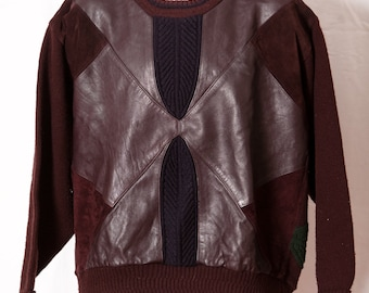 Vintage 80s Leather Sweater Top - SAXONY - brown and colors on back