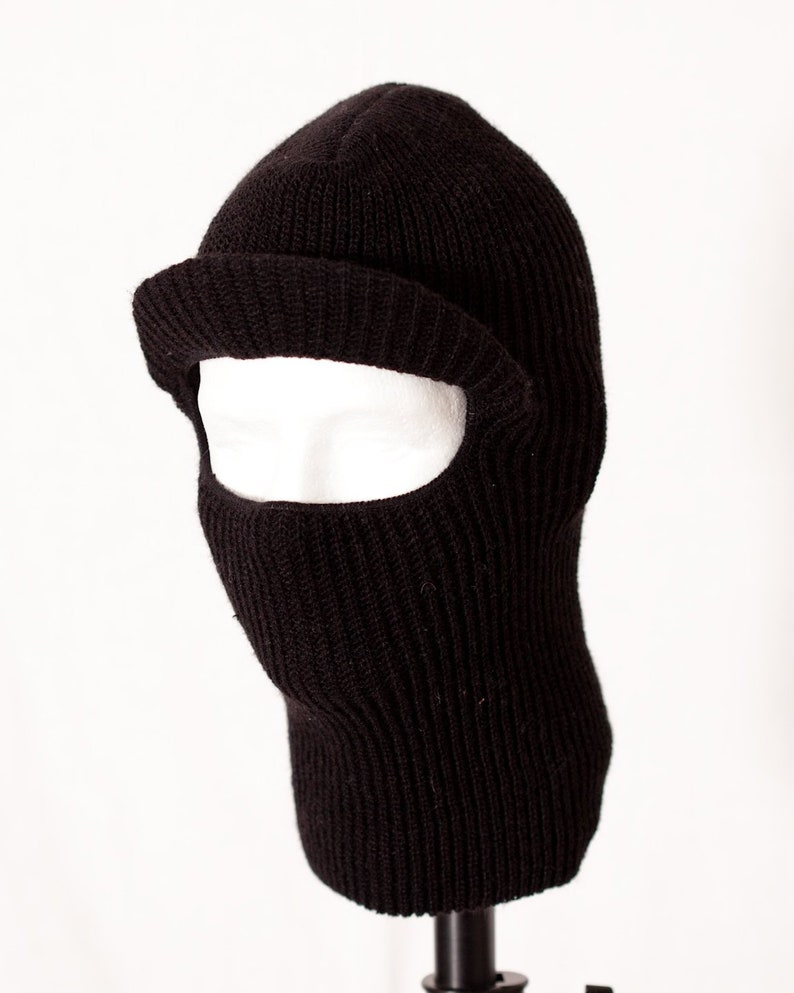 3bcc59e499b Vintage 80s Black Ski Mask With Visor one face hole