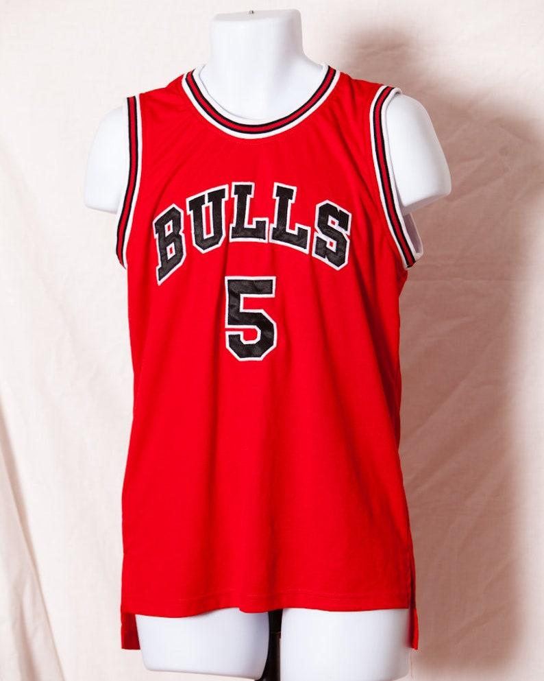 huge discount 468c7 d0899 Vintage 80s 90s Chicago BULLS Basketball polyester Jersey 5 - L