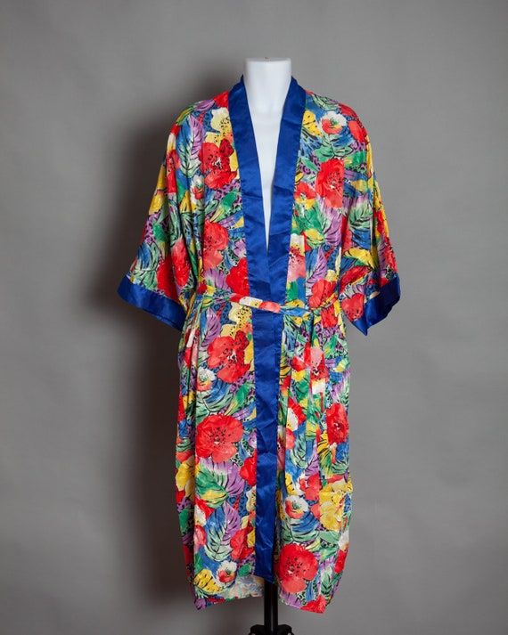Vintage 80s Colorful Flower Floral Pattern Robe