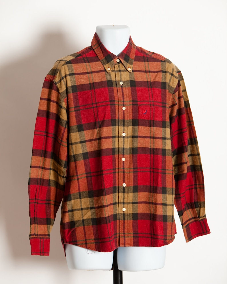 Vintage Men S Plaid Flannel Shirt Red Sun Etsy