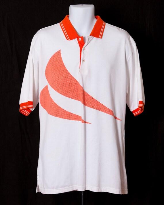 Vintage 80s 90s Polo Shirt Athletic Orange White Nologo Etsy