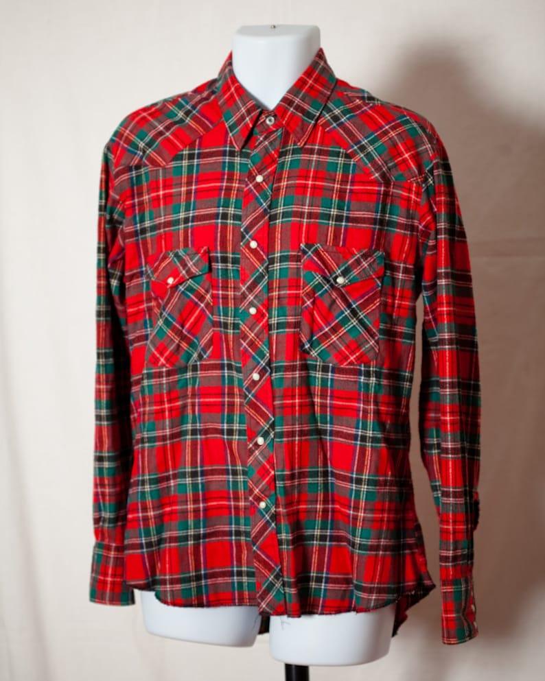 80a4a24011 Vintage 70s 80s Plaid Flannel Men's Snap Button Up Shirt | Etsy
