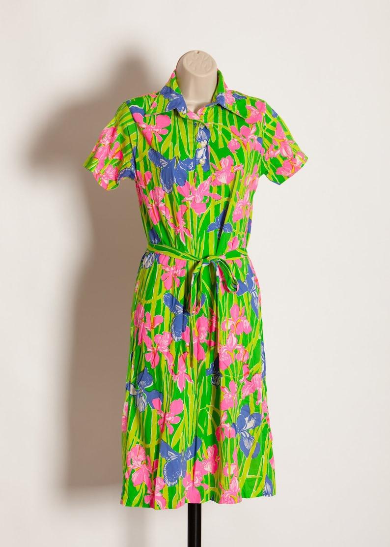 f9b8171de850 Vintage Women s Retro Floral Iris Summer Dress green