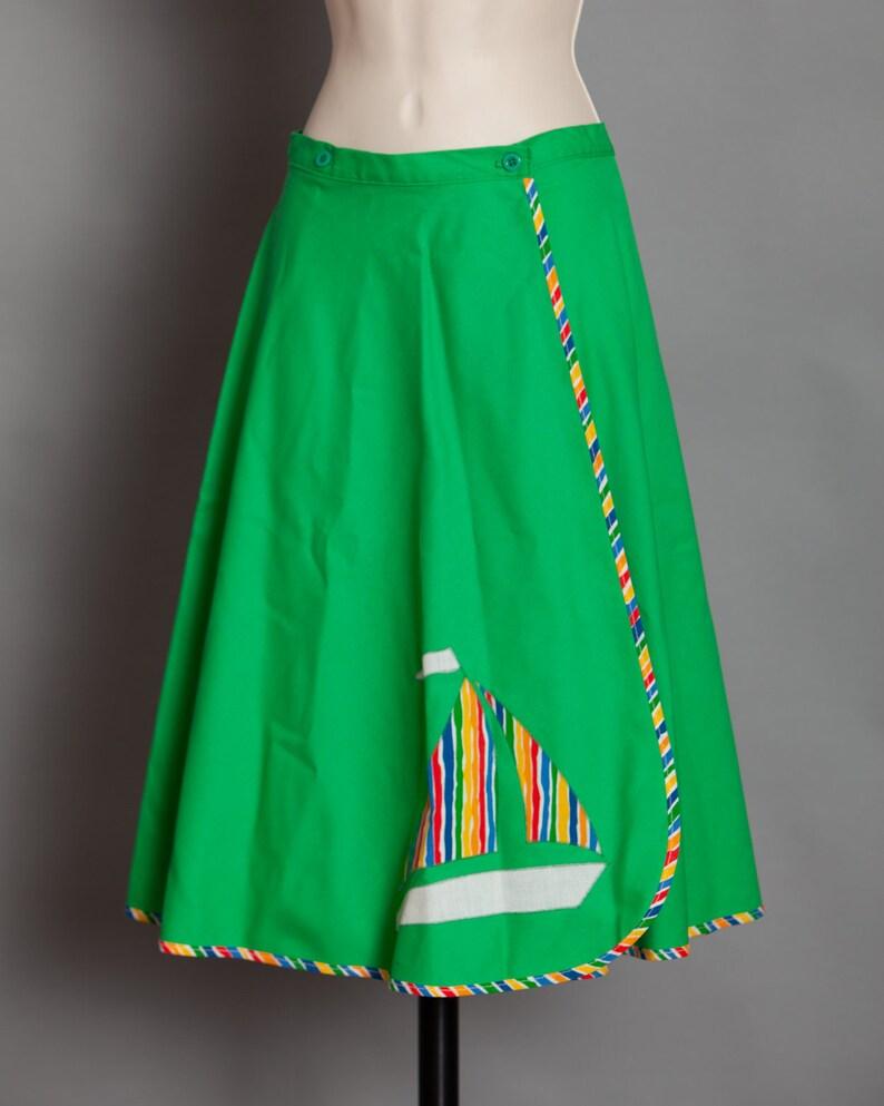Women/'s 70s 80s Rainbow Sailboat Wrap Skirt