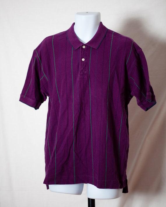 Polo Shirt - rayure verticale violet prune - ALEXANDER JULIAN couleurs des années 90 hommes