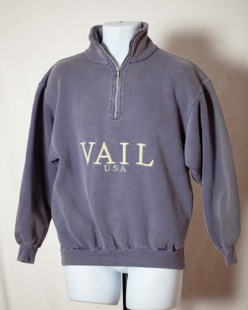 a04b795d1413 Vintage 80s 90s VAIL USA Pullover Sweatshirt Partial Zip
